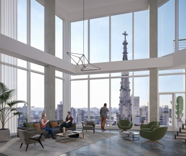 Interior view of 799 Broadway showing lounge with huge windows