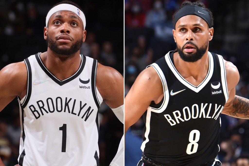 Bruce Brown (left) and Patty Mills could see more action or the Nets in Kyrie Irving's absence.