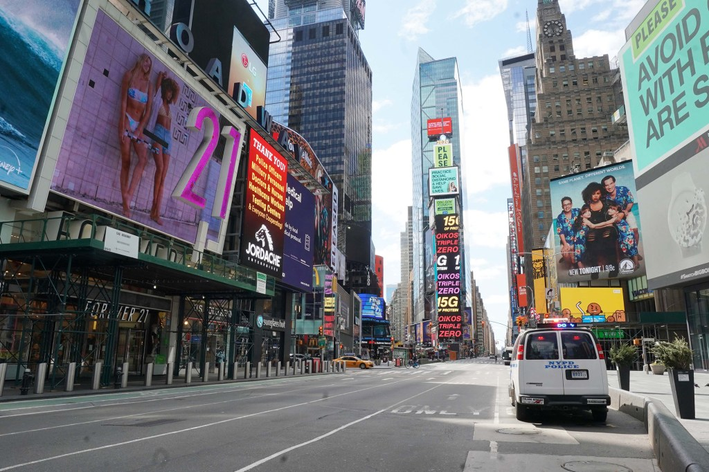 Streets were empty in Times Square amid COVID-19 lockdowns on April 2, 2020.