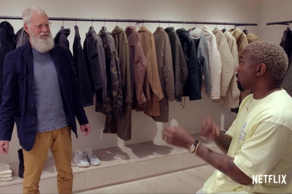 Kanye West taking David Letterman inside his closet.