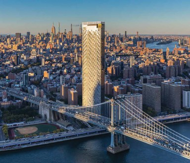 An image of One Manhattan Square against the city's skyline