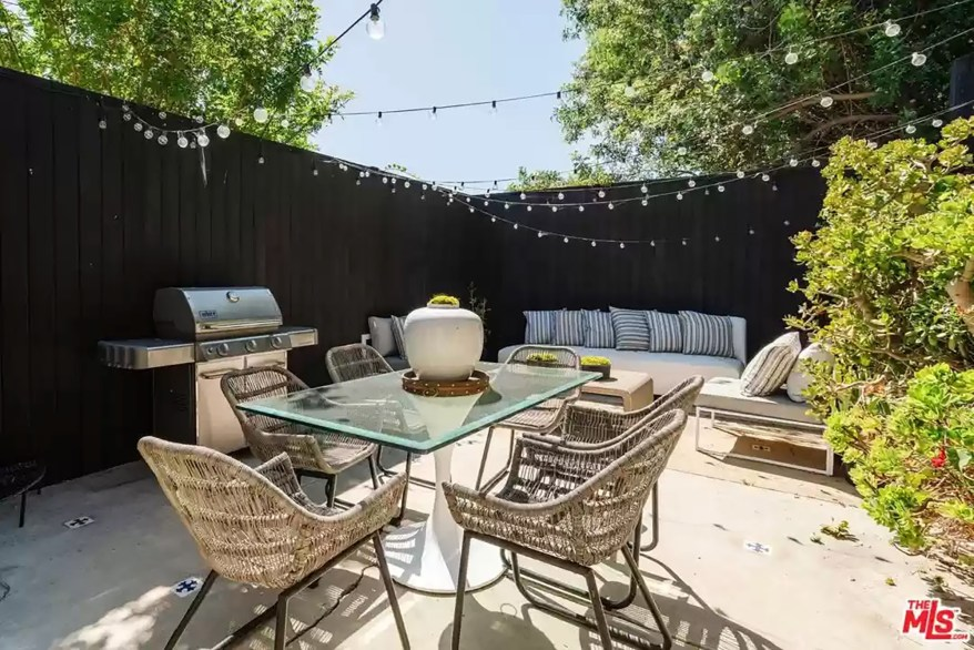 An outdoor patio is pictured.