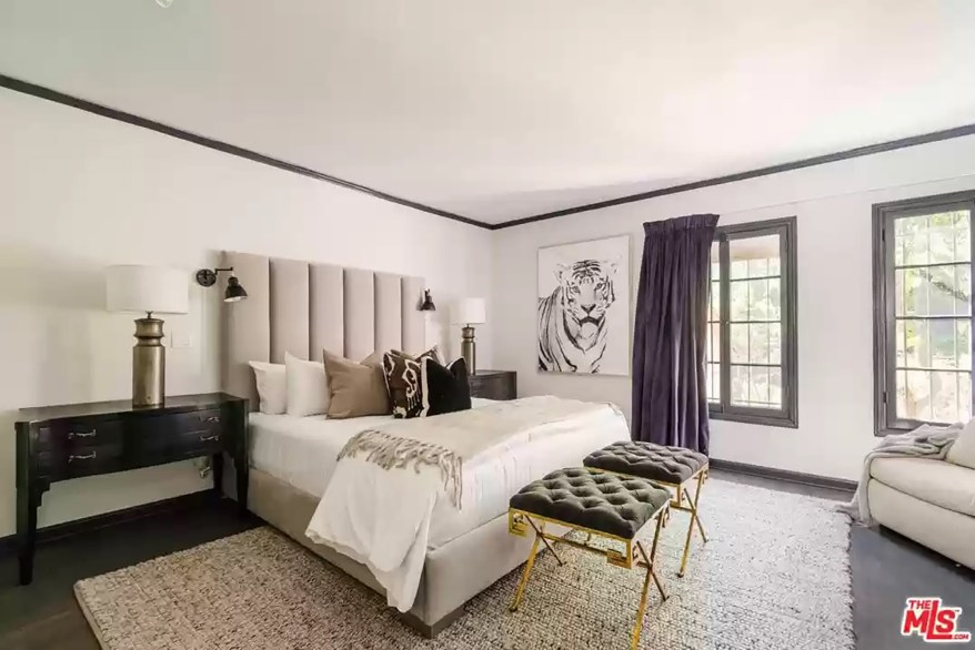 A bedroom is pictured.