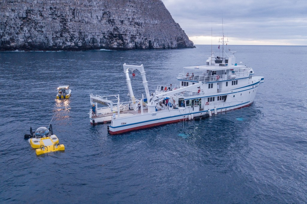 Aerial shot of the Deepsee submersible and Mission Blue's Argo ship  in the Galapagos Islands.