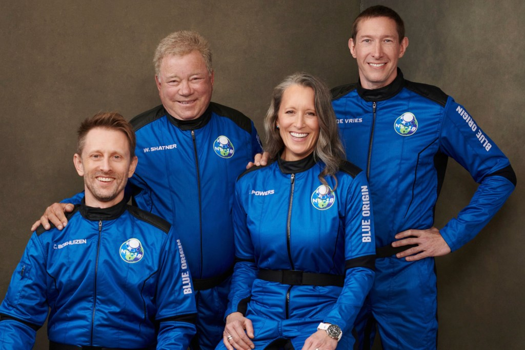 Chris Boshuizen (left), William Shatner, Audrey Powers and Glen de Vries will be aboard the New Shepard rocket.