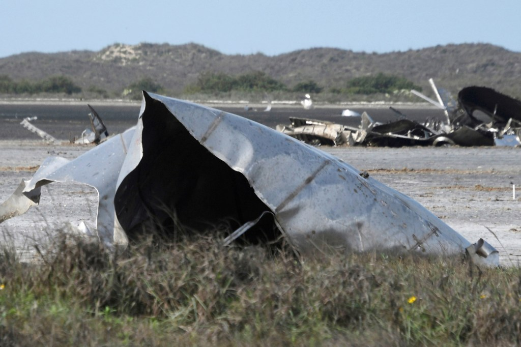 Debris is seen in a National Wildlife Refuge after uncrewed SpaceX Starship prototype rocket SN11 failed to land safely, in Boca Chica, Texas, U.S. March 31, 2021.