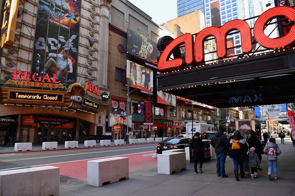 The AMC Empire 25 off Times Square is open as New York City's cinemas reopen for the first time in a year following the coronavirus shutdown
