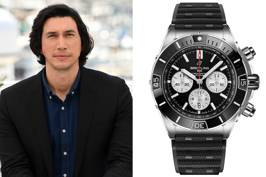 A side by side of Adam Driver and his Breitling watch.