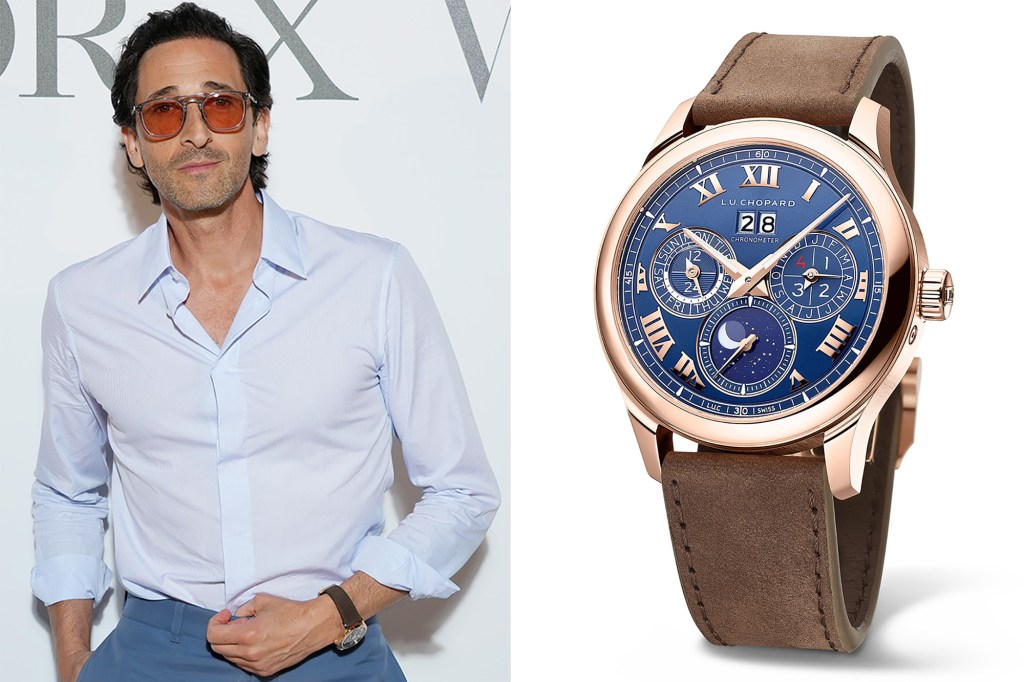 Side by side of Adrian Brody and his Chopard watch.