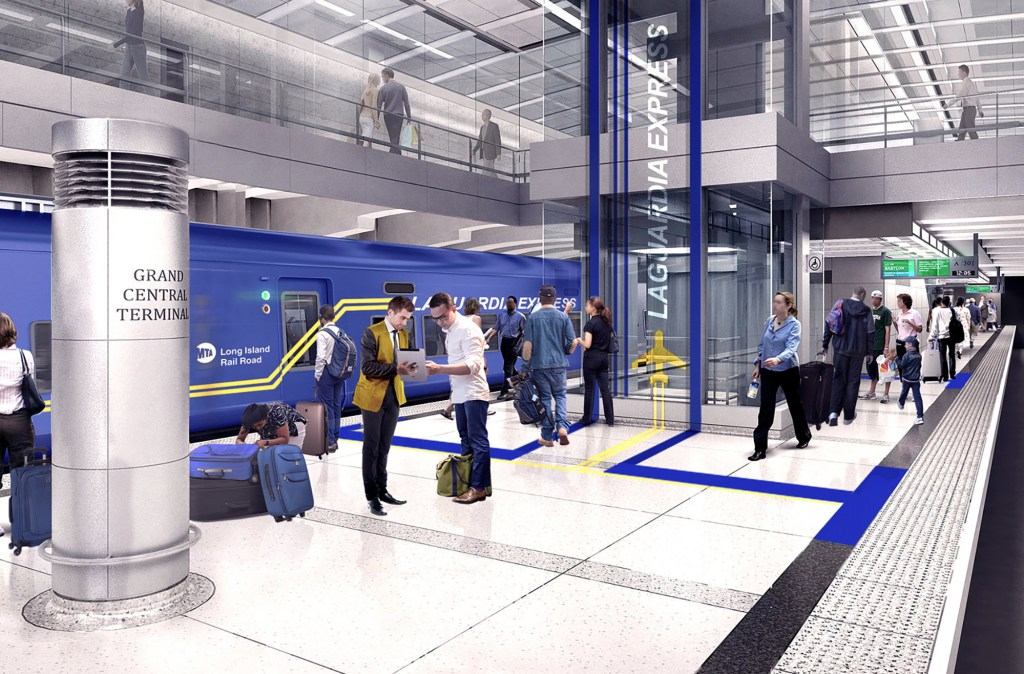 A rendering of the AirTrain's station.