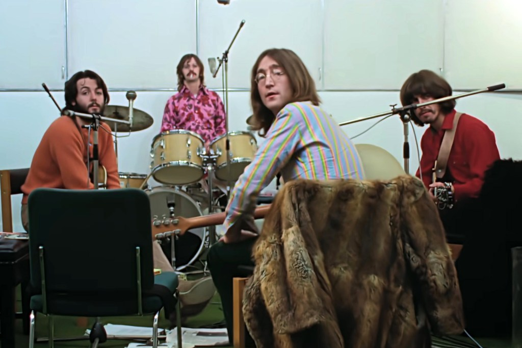 """Paul McCartney, Ringo Starr, John Lennon and George Harrison are seen in a scene from the upcoming Peter Jackson docuseries """"The Beatles: Get Back,"""" coming to Apple TV+."""