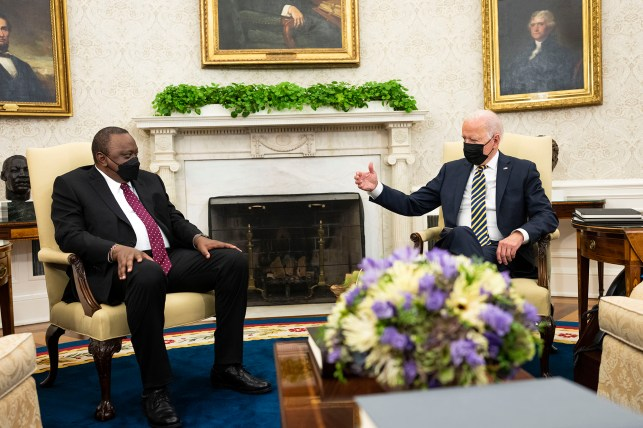 President Joe Biden (R) is meeting with Ohro Kenyatta.