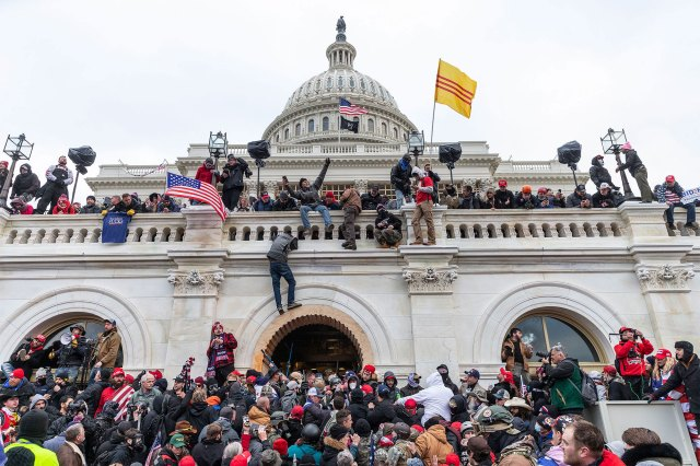 January 6, 2021, Washington Dc, District of Columbia, United States: Protesters seen all over Capitol building where pro-Trump supporters riot and breached the Capitol. Rioters broke windows and breached the Capitol building in an attempt to overthrow the results of the 2020 election.