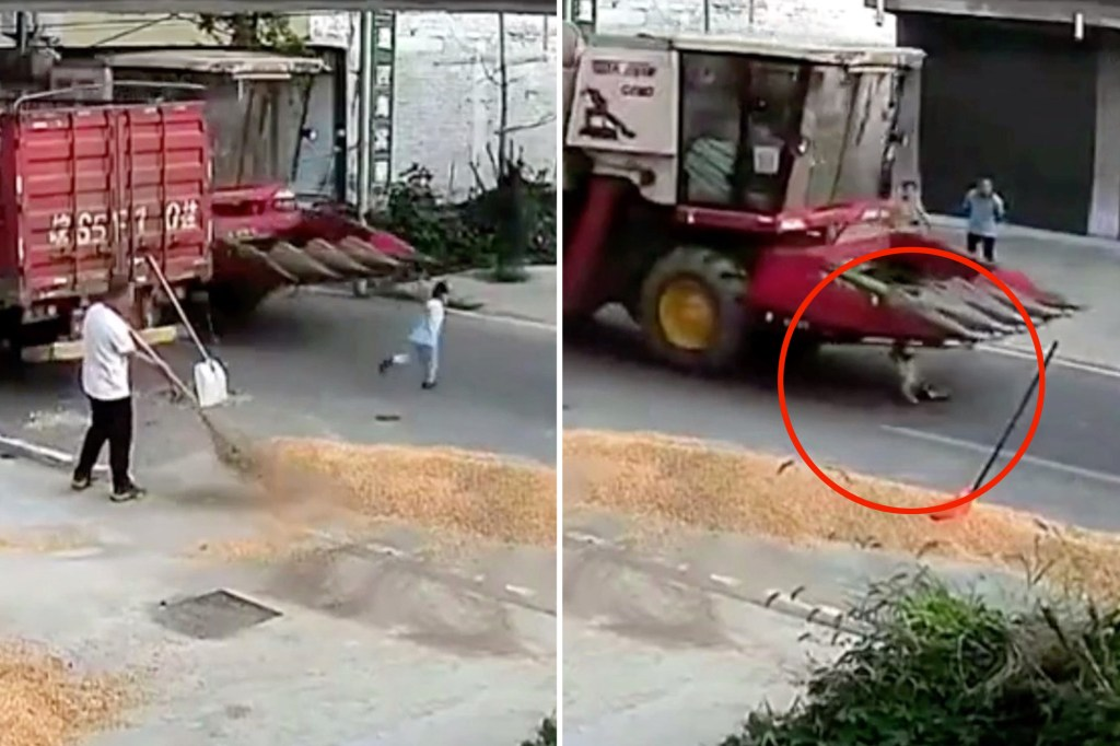 A boy escaped serious injuries after being run over by a harvester in eastern China.