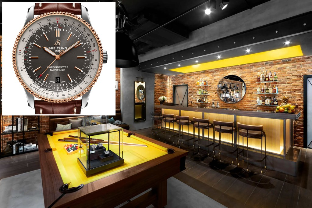 An inset of a Breitling watch and its townhouse.