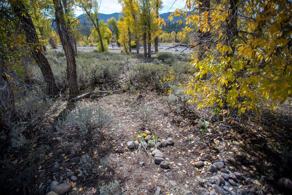 A memorial at the spot of where Gabby Petito's remains were found in Bridger-Teton National Forest in Wyoming.