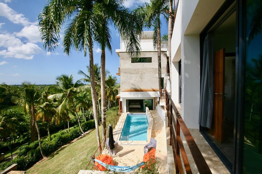 The second pool is directly accessible from one of the seven bedrooms.