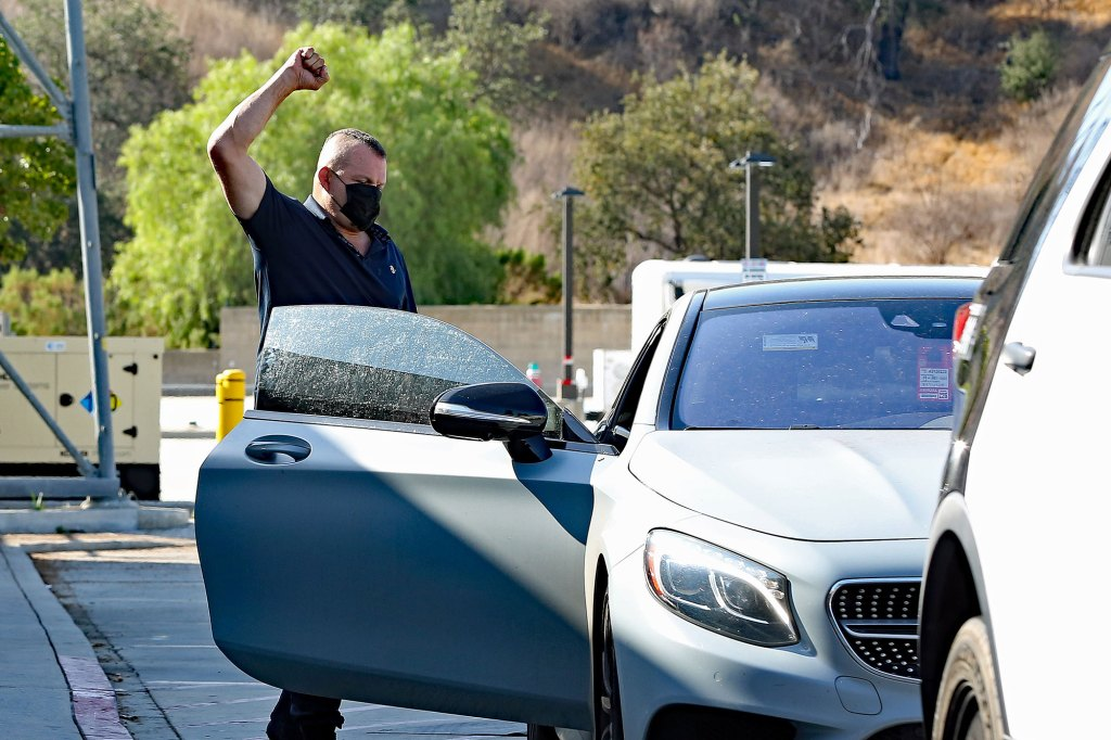 Chuck Liddell is seen leaving a Los Angeles Sheriff station after posting bail for reportedly being arrest early Monday morning for domestic violence,.