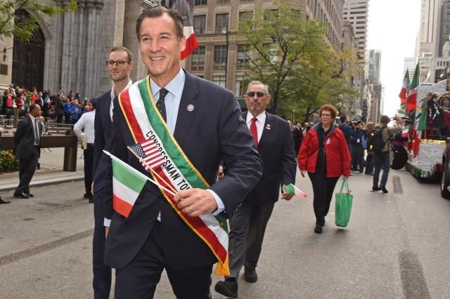 Congressman Tom Souzzi walks in the parade.