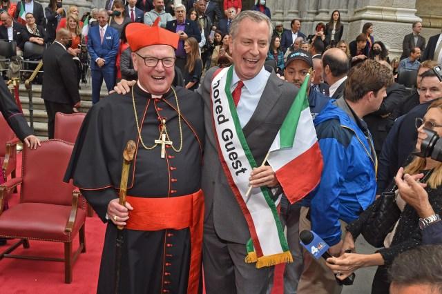 Cardinal Dolan and Bill de Blasio.
