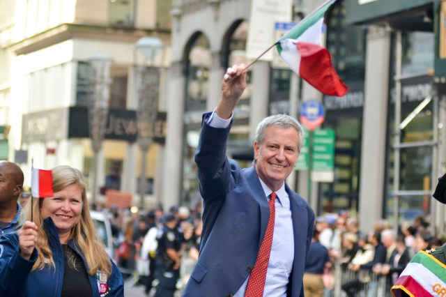 New York Mayor Bill de Blasio was met with a less than friendly greeting upon attending New York's Columbus Day Parade on October 11, 2021.