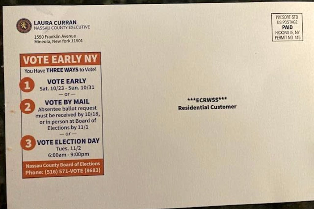 Nassau County Dem Executive Laura Curran using taxpayer funded mailers shortly after signing a bill banning the practice within a 45-day ahead of the Nov. election