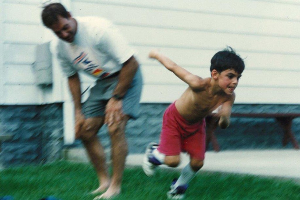 Nate Ebner works out as a kid with his father, Jeff.
