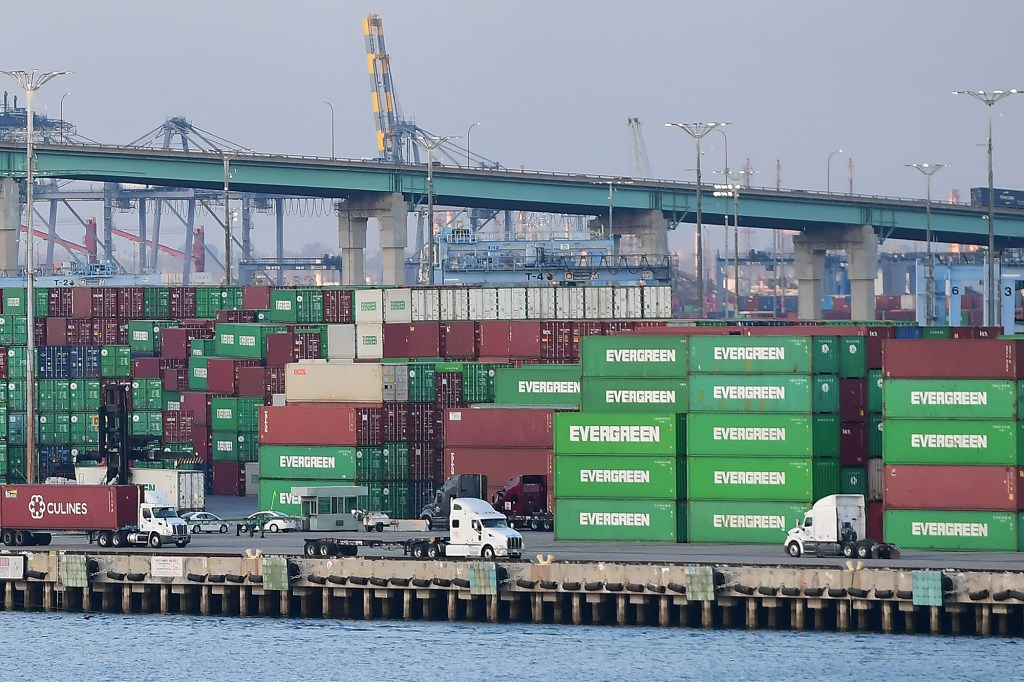 Shipping containers stacked high at the Port of Los Angeles