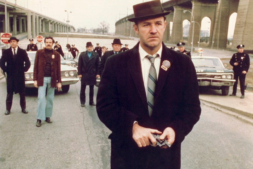 """Gene Hackman wields his weapon as NYPD narcotics detective Jimmy """"Popeye"""" Doyle in """"The French Connection."""""""