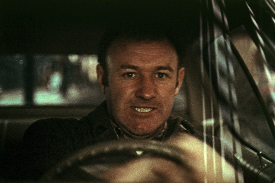 """Gene Hackman in the teeth-gritting car chase scene that made history in """"The French Connection."""""""