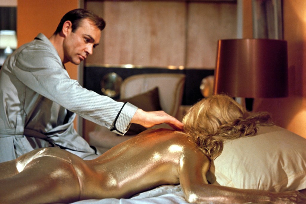 """Sean Connery makes a gruesome discovery in a classic scene from """"Goldfinger."""""""
