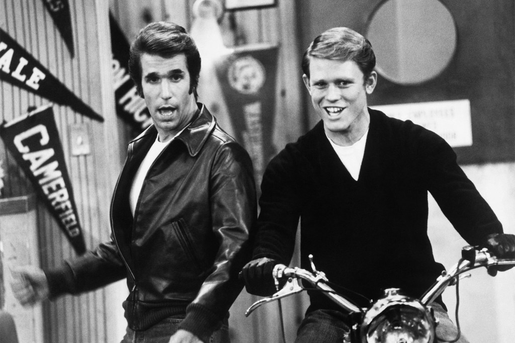 """Photo showing Henry Winkler as The Fonz and Ron Howard as Richie Cunningham on the ABC sitcom """"Happy Days."""""""