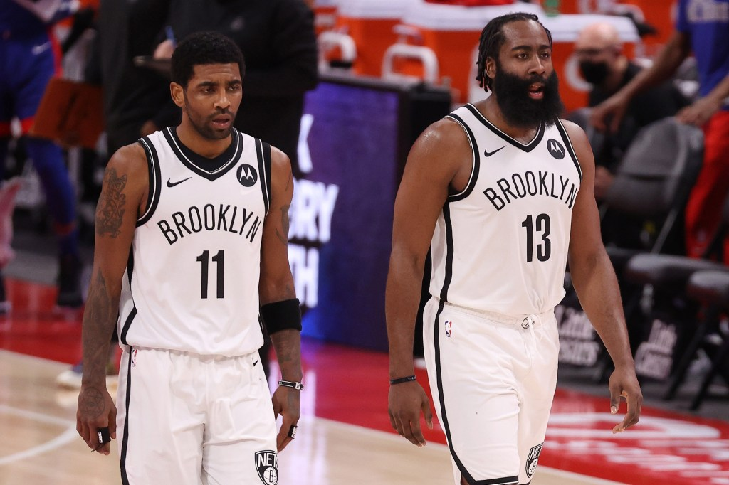 Kyrie Irving and James Harden during the 2020-21 season