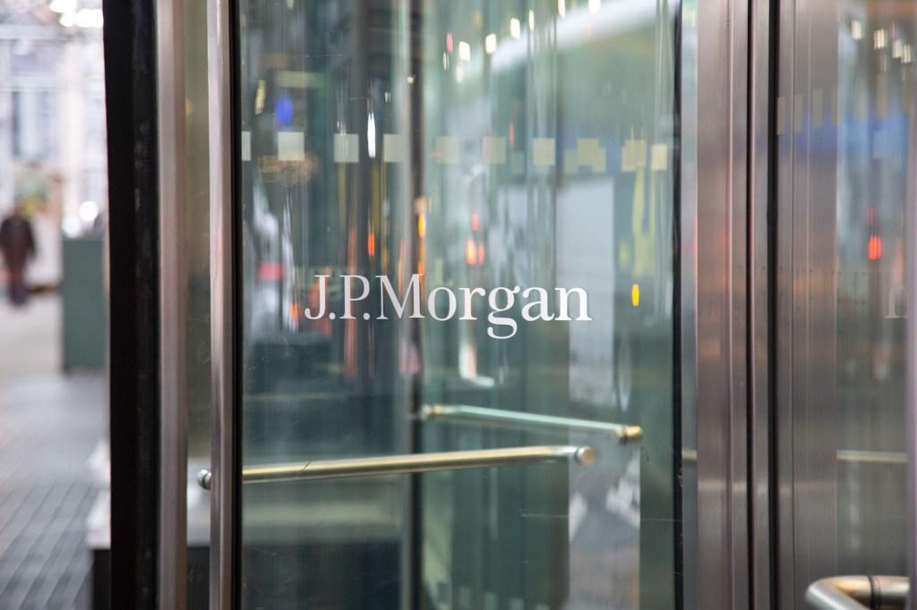 JPMorgan logo on a glass window.