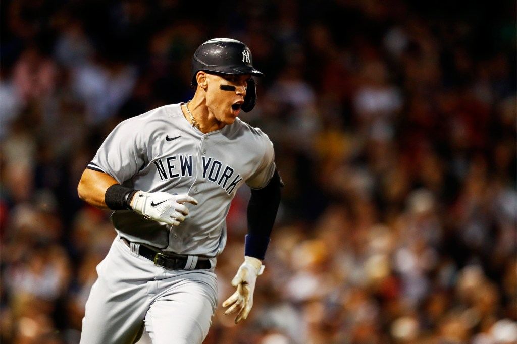 Aaron Judge celebrates hitting a two-run RBI double vs. the Red Sox last month at Fenway Park.
