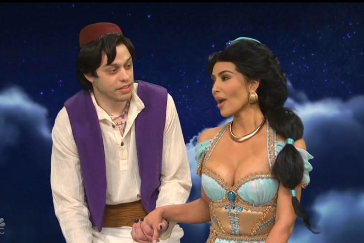 "Pete Davidson and Kim Kardashian West in an Aladdin-themed sketch on ""Saturday Night Live."""