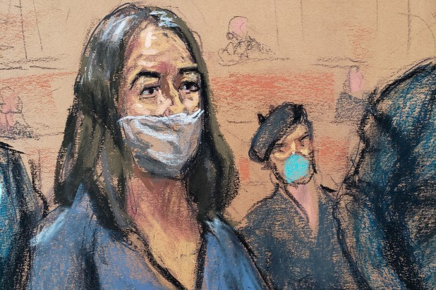 Court sketch of Ghislaine Maxwell during her arraignment hearing.