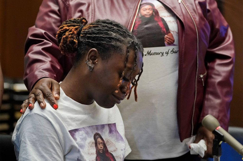Aliyah, left, wears a shirts with Sarah Butler's picture as they give victim impact statements during the sentencing for Khalil Wheeler-Weaver.