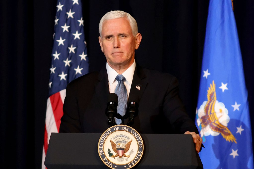 Vice President Mike Pence speaks during a memorial service for the late Air Force Brig. Gen. Chuck Yeager.