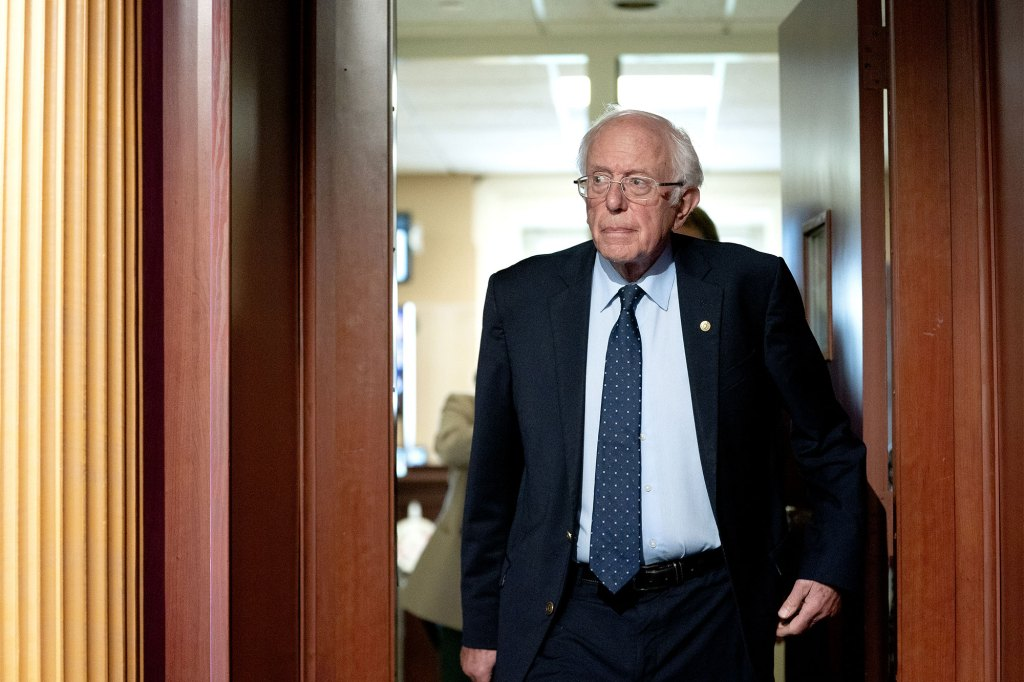 Senator Bernie Sanders, an Independent from Vermont, arrives to a news conference at the U.S. Capitol.
