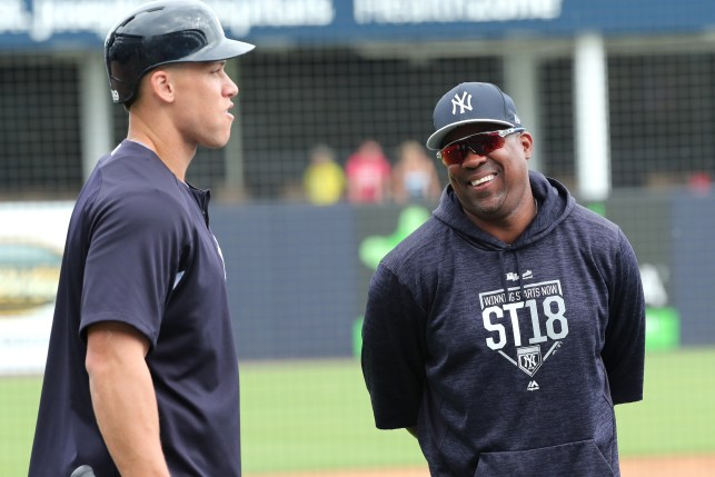 Marcus Thames (right) will not return to the Yankees next season.
