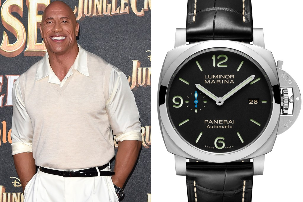 A side by side of The Rock and his Panerai watch.