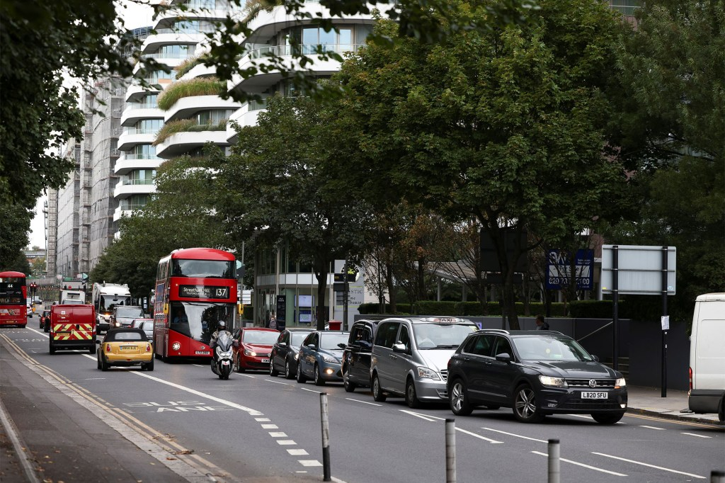 A line of cars outside a gas station in London amid the fuel shortage on October 2, 2021.