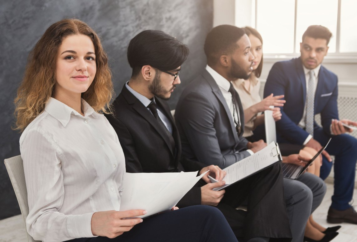 Job interview line up