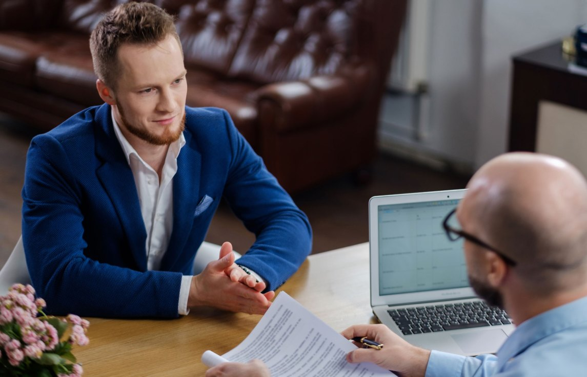 Businessman interviewing for job