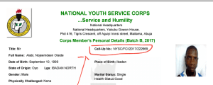 Nysc call up number