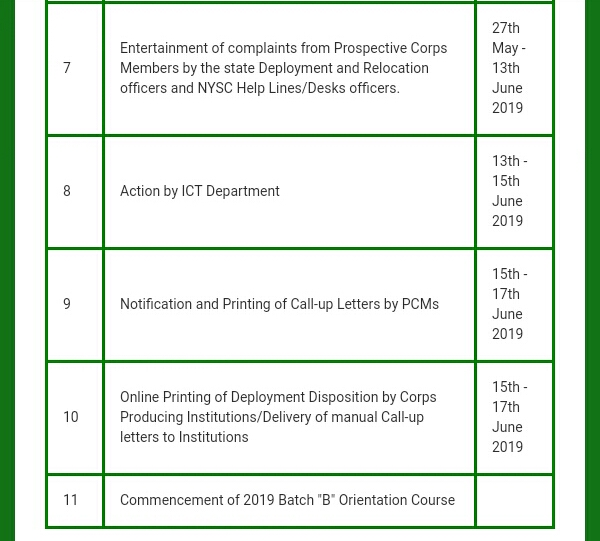 Nysc 2019 time table