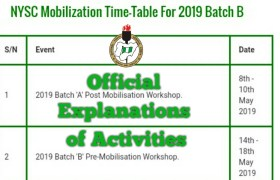 Nysc time table