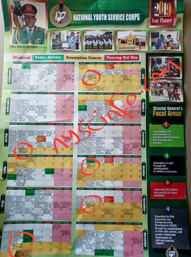 Nysc calendar for 2019 Batch C