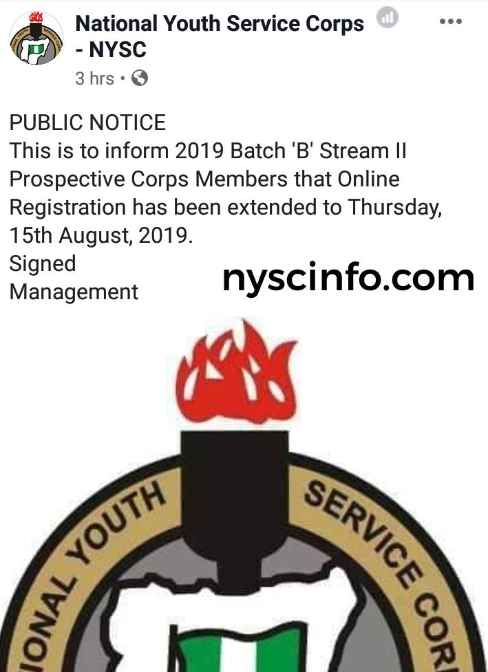 Again, NYSC Extends 2019 Batch B Stream 2 Registration